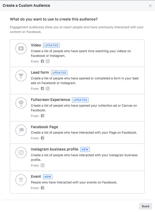 Custom audience of people who have engaged with your Facebook or Instagram page